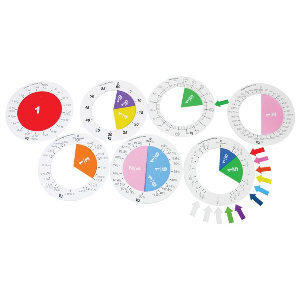 Fraction Ring Set with Printed Fraction Circles