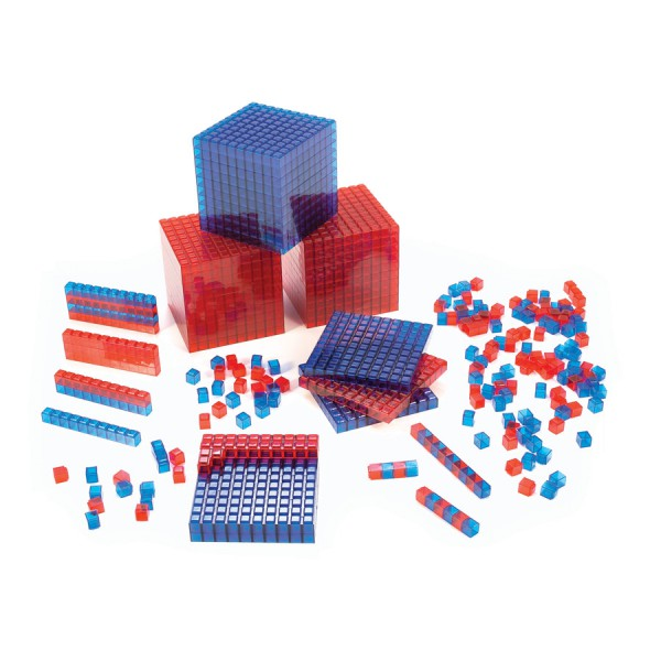 Clear-View, Base Ten, Interlocking Cubes, Red, Set of 100