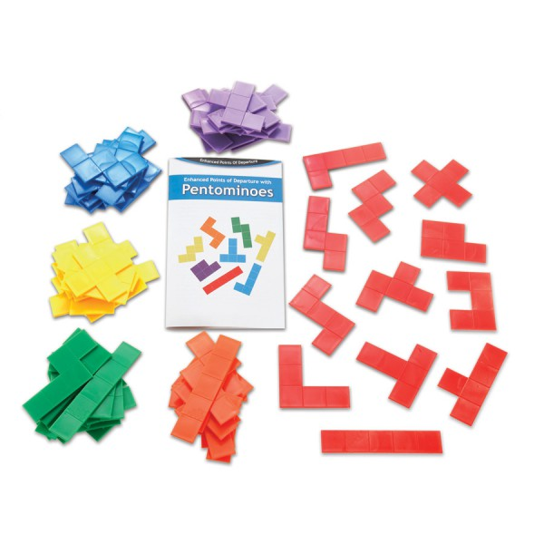 Rainbow Pentominoes -18 Sets with Guide in Container