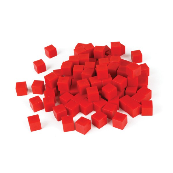 Base Ten Non-Linking Unit Cubes -Red Set of 100