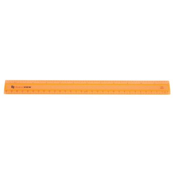 """12"""" Clearview Ruler -Orange 1/8"""" Scaled"""