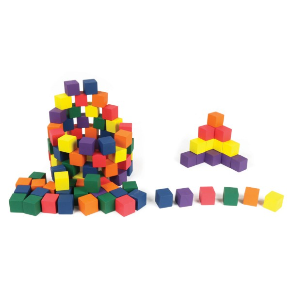 "1"" Wooden Cubes -Color Set of 102"