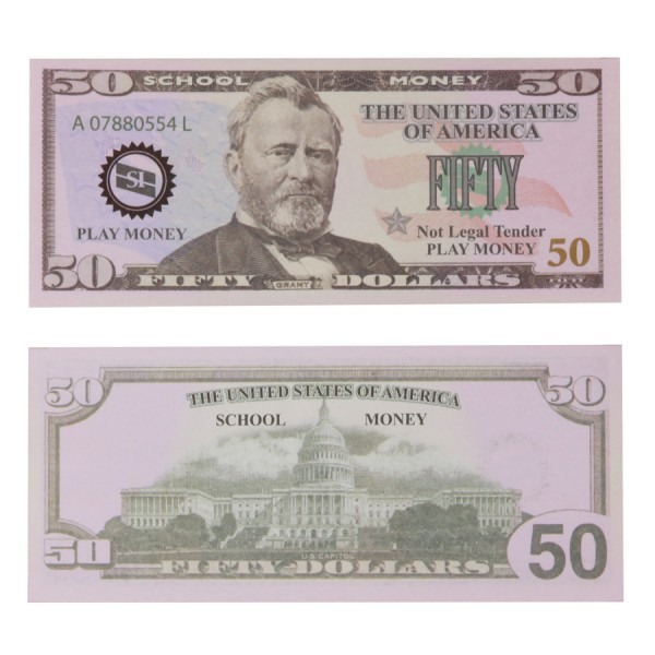 U.S. School Money $50 Bills -Set of 50