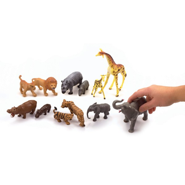Safari Animals with Their Babies -Set of 12