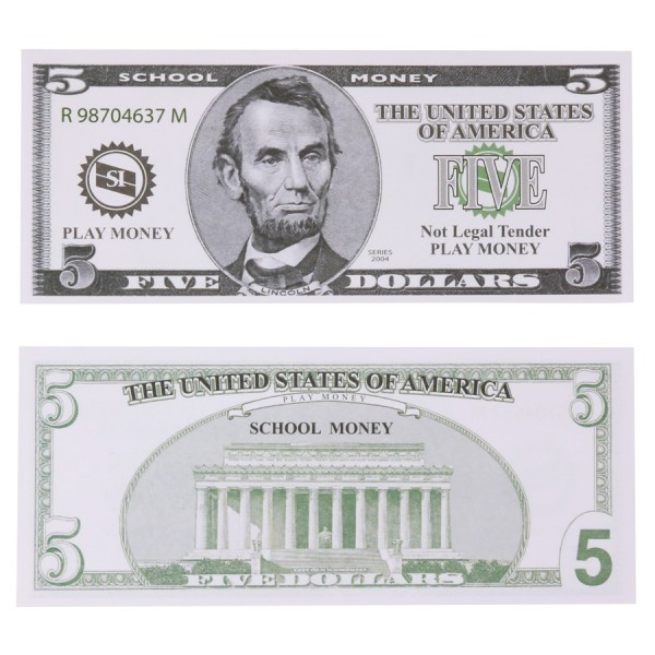 U.S. School Money $5 Bills -Set of 100