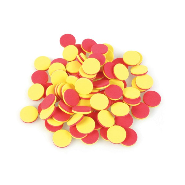 Foam Two Colour Counters, Red/Yellow, Set of 200