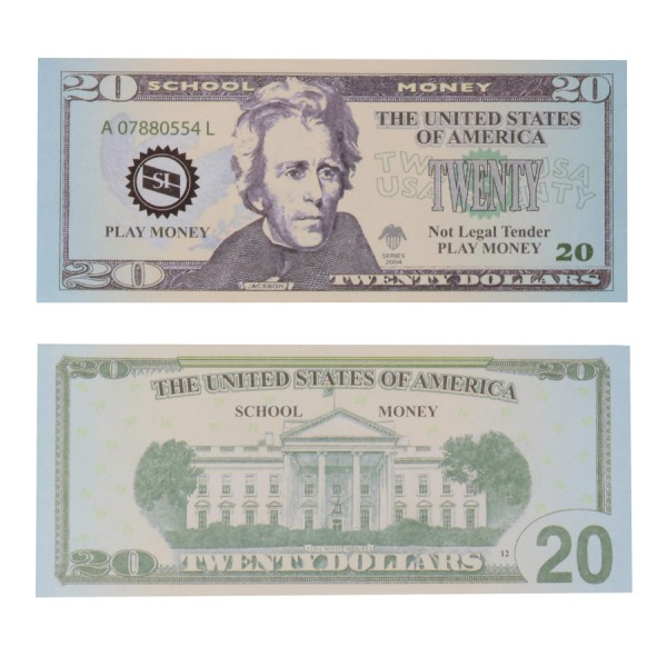 U.S. School Money $20 Bills -Set of 100