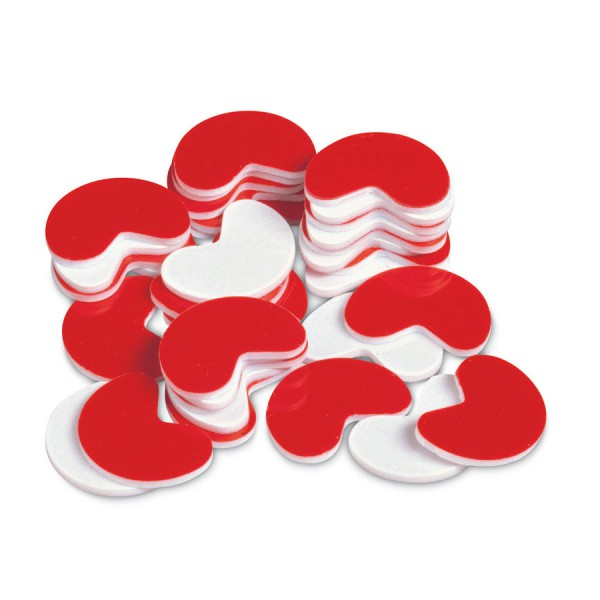 Plastic Kidney Counters Red/White, Set of 200