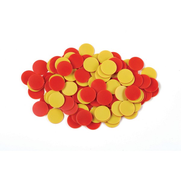 Plastic Two Color Counters Red/Yellow a container, Set of 2,000