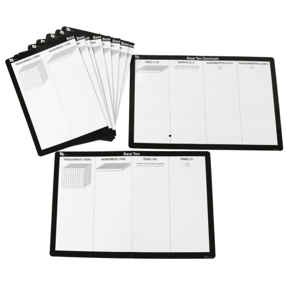 Base Ten Write N Wipe Mat -Set of 10 French