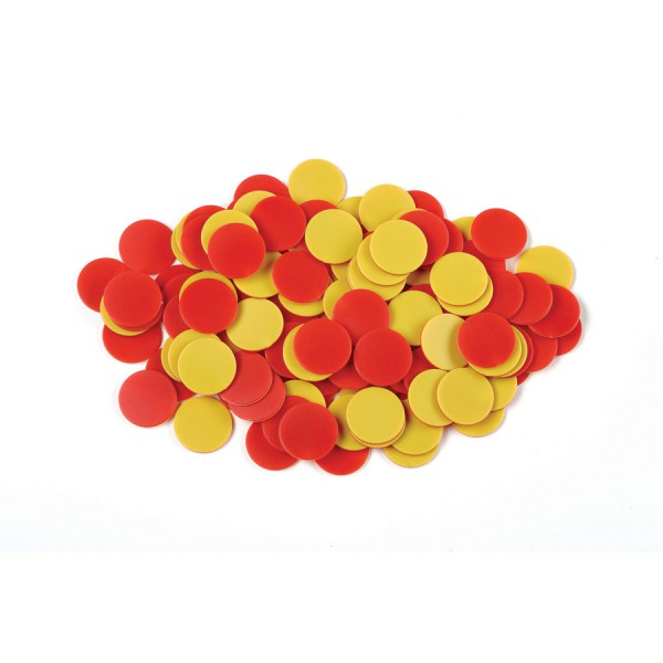 Plastic Two Color Counters Red/Yellow, Set of 200