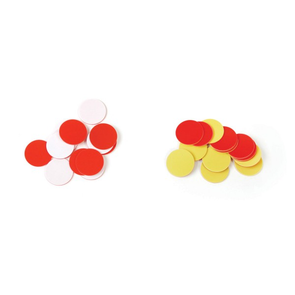 """Economy Plastic 1"""" Two Color Counters Red/Yellow, Set of 200"""